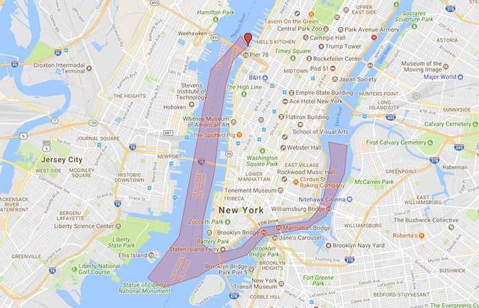 Вечерний круиз с видом на гавань Нью-Йорка - Карта
