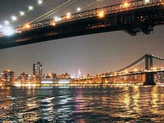 Парки в Нью-Йорке Бруклинский мост ночью