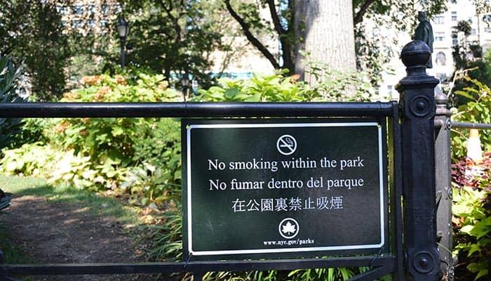 Курение в Нью-Йорке в парке